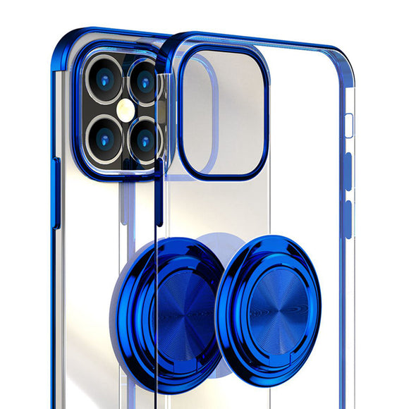 Transparent Soft Plating Cover For iPhone 12 with Ring