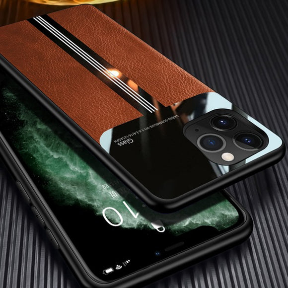Ultra Thin Plexi Glass & PU Leather Silicone Case For iPhone