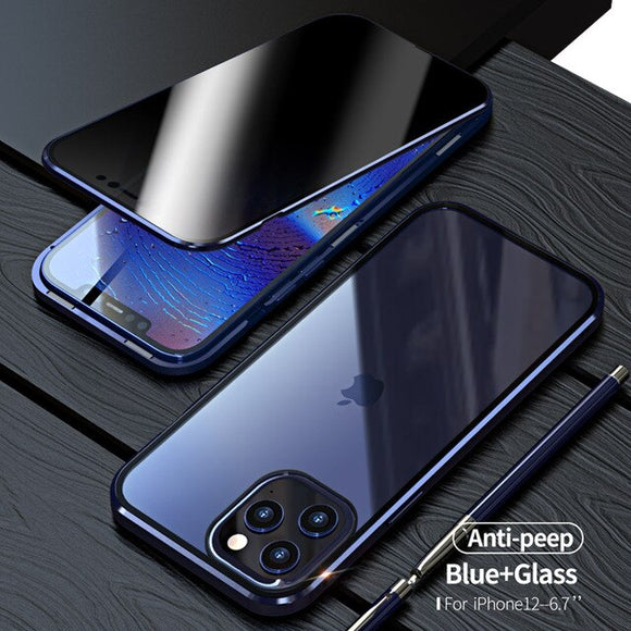 Anti Peeping Privacy Glass Metal Magnetic Case for iPhone