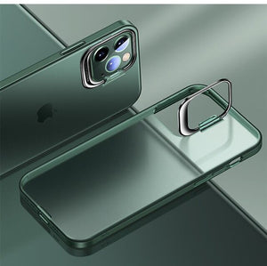 Bracket Holder Design Transparent Matte Case For iPhone 12