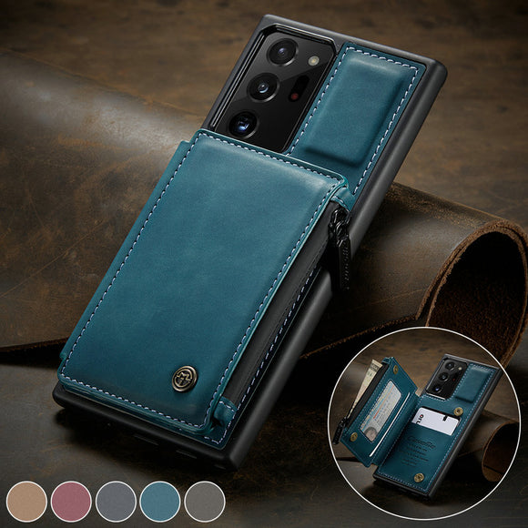 Retro Card Slots Zipper Wallet Case For Samsung Galaxy Note 20