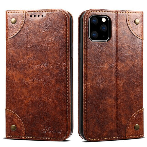 Classic Magnetic Book Flip Leather Case For iPhone 12