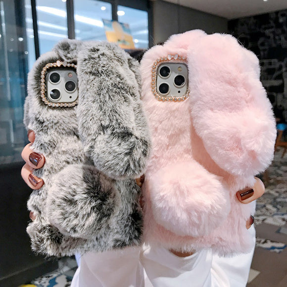 Cartoon Rabbit Plush Bowknot Diamond Design Case For iPhone 12 Series