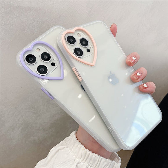 Cute Love Heart Lens Transparent Case For iPhone 12
