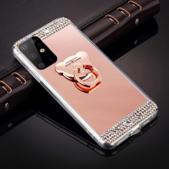 Bling Bear Ring Glitter Mirror Case for Samsung Galaxy S20/20Plus/20Ultra