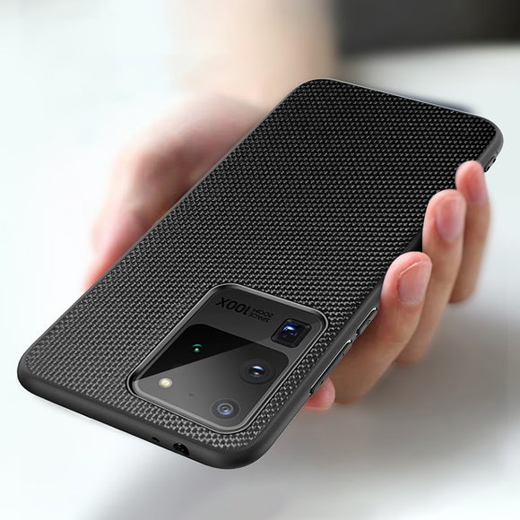 Luxury Anti-Slip Fiber Texture Back Cover For Samsung Galaxy S20