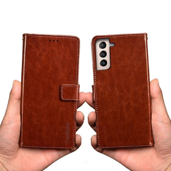 Vintage Style Buckle Strap Leather Flip Cover for Galaxy S21