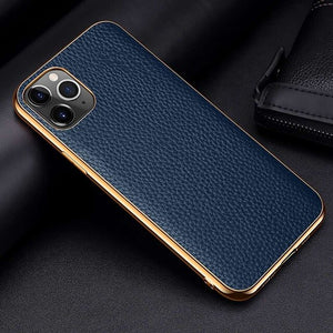 Luxury Electroplate Frame Cow Litchi Leather Cases For iPhone 12 Series