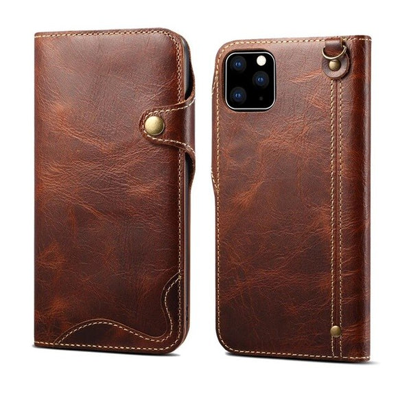 Handmade Genuine Leather Flip Cover for iPhone 12