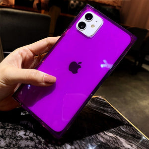 Transparent Fluorescence Square Case For iPhone 12