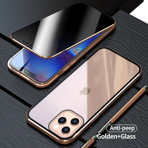 Anti Peeping Privacy Glass Metal Magnetic Case for iPhone 12