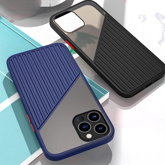 Shockproof Silicone Stripe Splicing Back Case for iPhone 12/11
