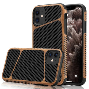 Soft Silicone Carbon Fiber Wood Grain Hybrid Cases for iPhone