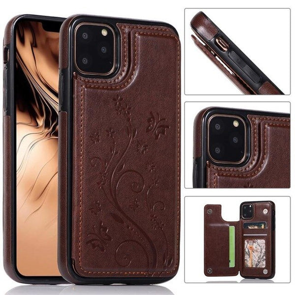 Luxury Embossed Flower PU Leather Wallet Case For iPhone