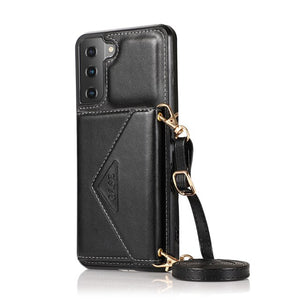 Leather Lanyard Crossbody Card Wallet Case For Samsung Galaxy S21 Series
