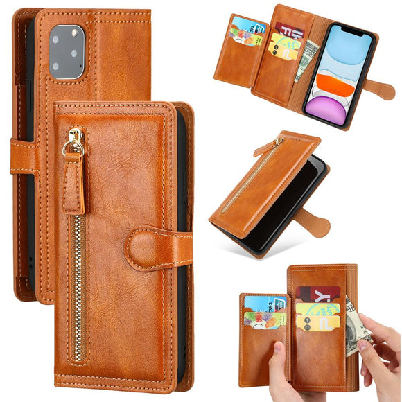 Zipper Design Wallet Case For iPhone 12