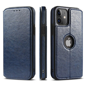 Vintage Leather Magnetic Flip Wallet Case For iPhone 12 Series