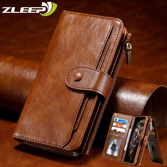 Luxury Detach Leather Wallet Flip Case For iPhone 12
