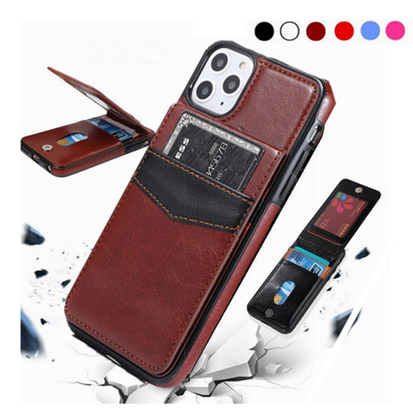 Luxury Vertical Flip Wallet PU Leather Case for iPhone with Magnetic Buckle
