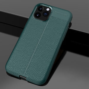 Shockproof Silicon Bumper Litchi Leather Case For iPhone
