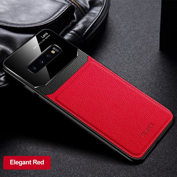 Shockproof PU Leather Mirror Tempered Glass Case for Samsung Galaxy S20/10/9(BUY 2 GET 10% OFF)