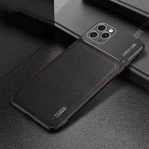 Fashion PU Leather Metal Protective Case for iPhone