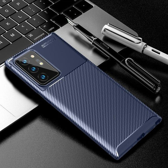 Luxury Carbon Fiber Soft TPU Silicone Cases for Samsung Galaxy Note 20 Ultra