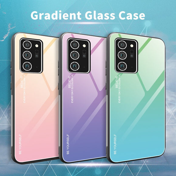 Shockproof Gradient Tempered Glass Soft Silicone Frame Case for Samsung Note Series