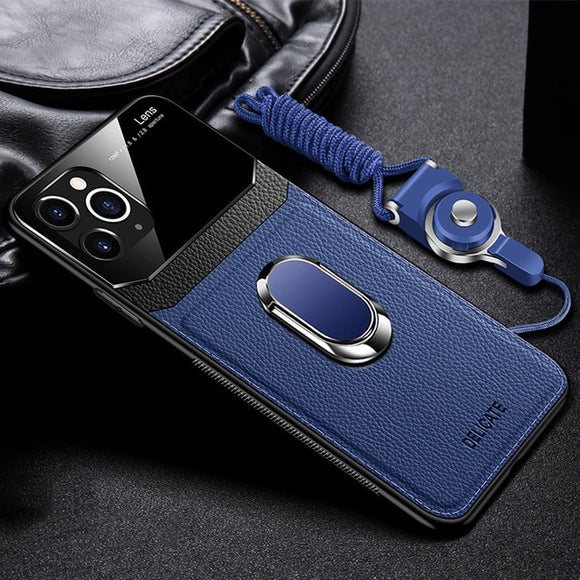 Shockproof PU Leather Tempered Glass With Stand Case for iPhone(Buy 2 Get 10% Off)