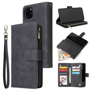 Vintage PU Leather Magnetic Zipper Pocket Case for iPhone 12