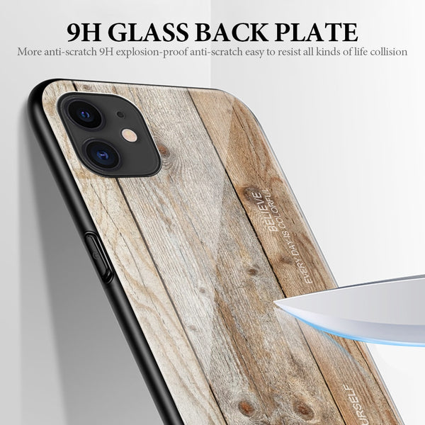Luxury Wood Grain Tempered Glass Case For iPhone