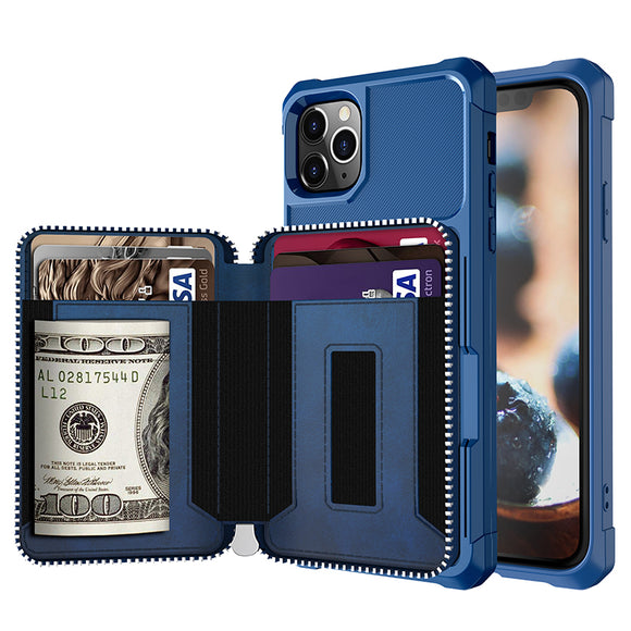New Arrival Zipper Wallet Purse Pocket Case For iPhone