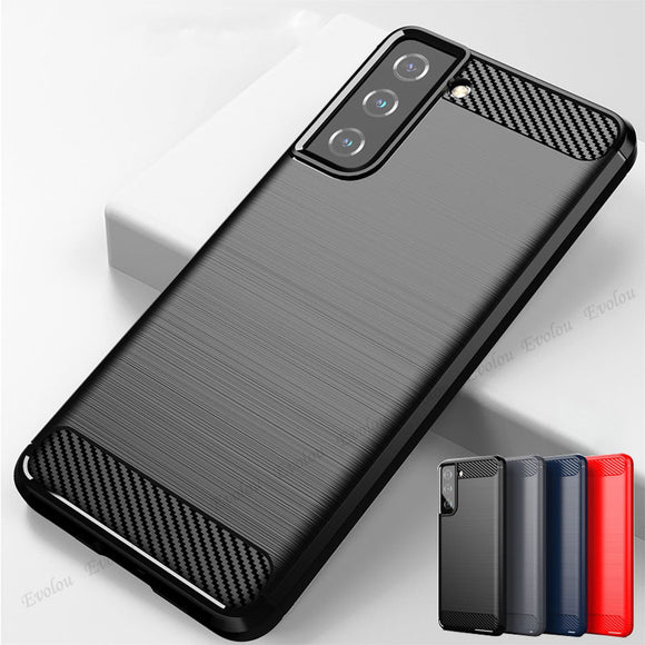 Rubber Silicone Carbon Fiber Cover For Samsung Galaxy S21 Series
