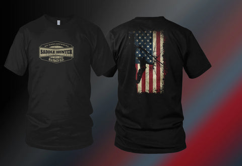 "Saddle Hunter On American Flag ""Wayback USA"" Shirt"