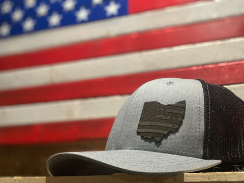 STEALTH EDITION- State WHITETAIL TRACKS SILHOUETTE Mesh Snap Back Hat