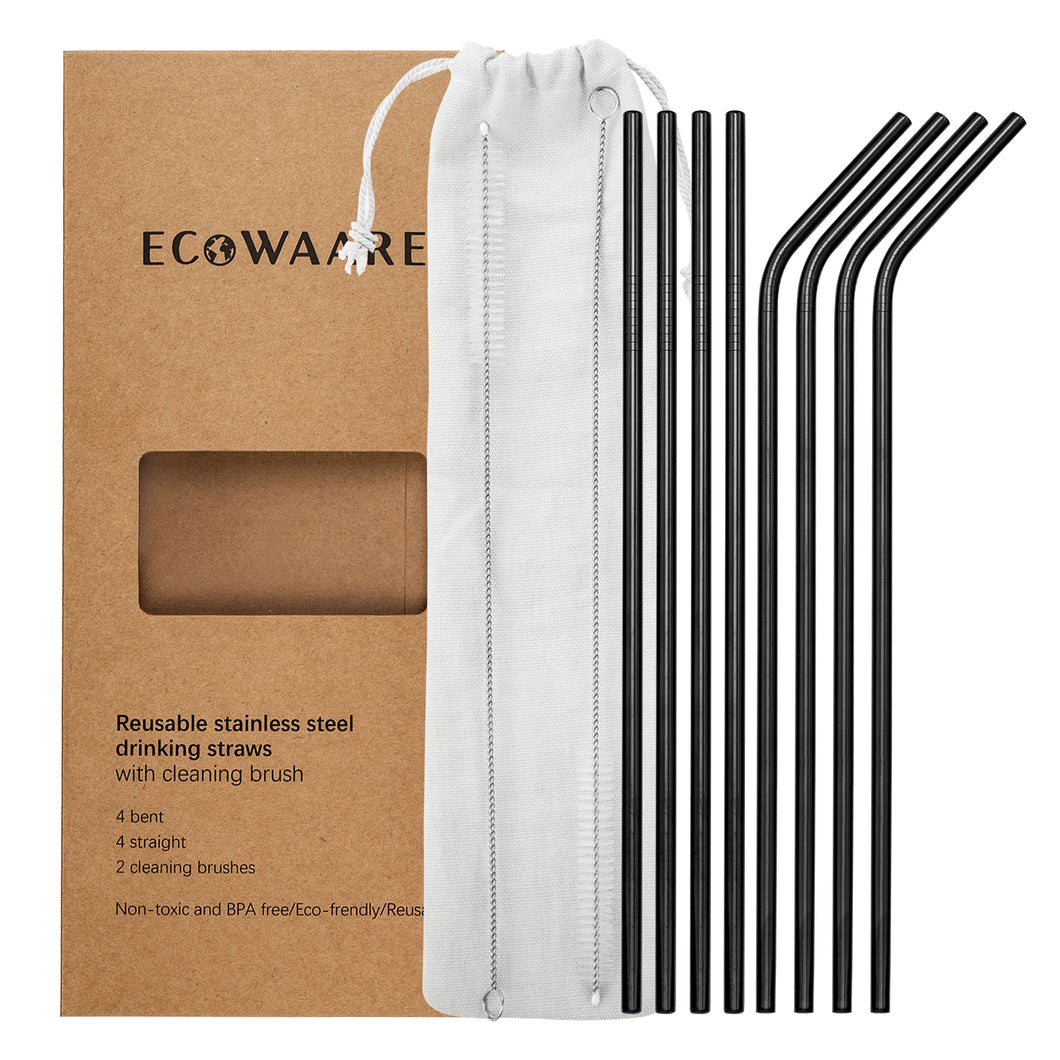 Ecowaare Reusable Stainless Steel Straws, 4 Straight+4 Bent+2 Brushes,10.5 inch Ultra Long, Black Color