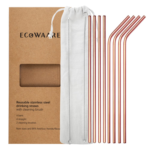 Ecowaare Reusable Stainless Steel Straws, 4 Straight+4 Bent+2 Brushes,10.5 inch Ultra Long, Rose Gold Color