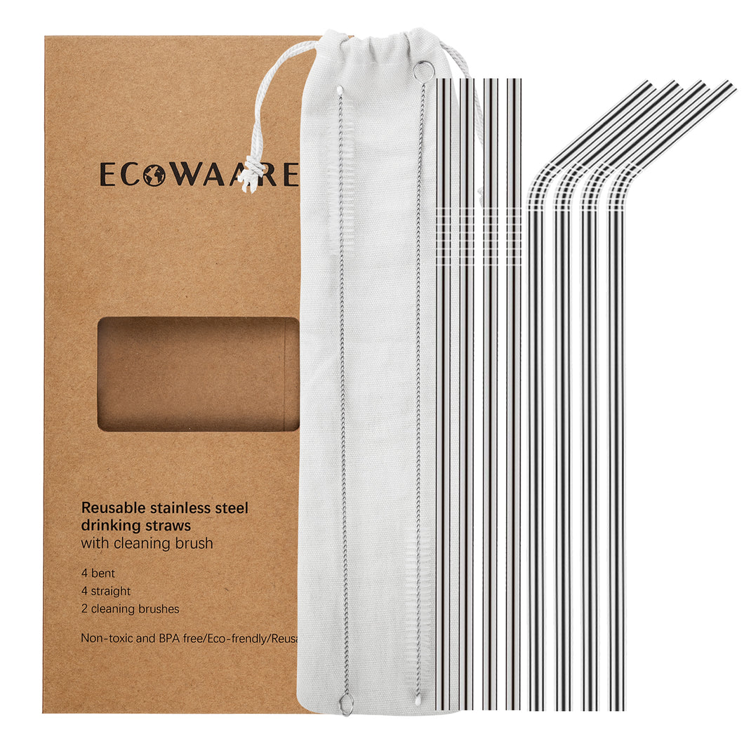 Ecowaare Reusable Stainless Steel Straws, Set of 8, 4 Straight, 4 Bent, 2 brushes included,10.5 inch Ultra Long