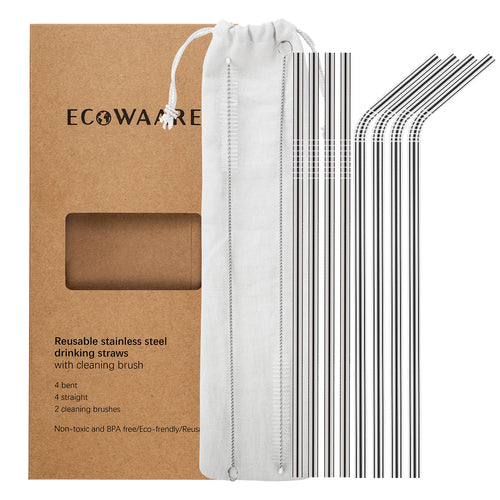 Ecowaare Reusable Stainless Steel Straws, Set of 8, 4 Straight+4 Bent+2 Brushes, 8.5'' Length