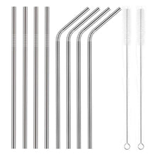 Load image into Gallery viewer, Ecowaare Reusable Stainless Steel Straws, Set of 8, 4 Straight, 4 Bent, 2 brushes included,10.5 inch Ultra Long