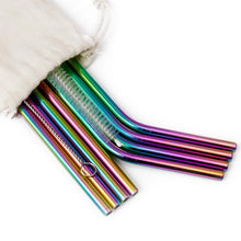 Load image into Gallery viewer, Ecowaare Reusable Stainless Steel Straws, 4 Straight+4 Bent+2 Brushes,10.5 inch Ultra Long, Rainbow Color