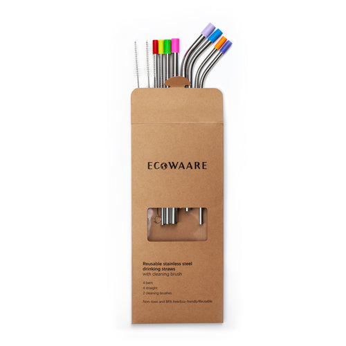 Ecowaare 8pcs Stainless Steel Straws with 2 Cleaning Brushes Silicon Cover, Sizes 6mm|8mm|9.5mm 2 Lengths 8.5 Inch|10 Inch