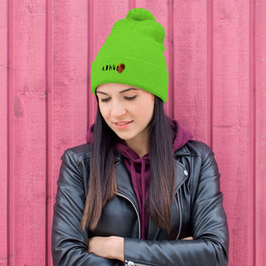 Lime green beanie puff - Emroidered