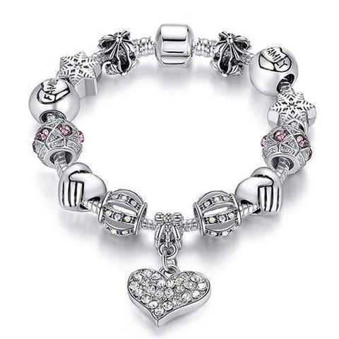Women Bracelet 925 Unique Silver Crystal Charm Bracelet for Women DIY Beads Bracelets & Bangles Jewelry - Copa-Wax