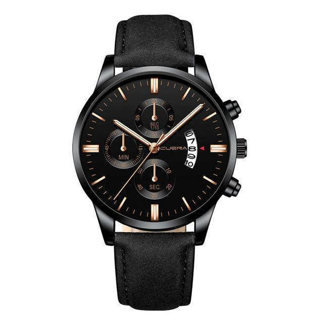 CUENA Fashion Men's Stainless Steel Watch Leather Band Analog Quartz Wrist Watch - Copa-Wax