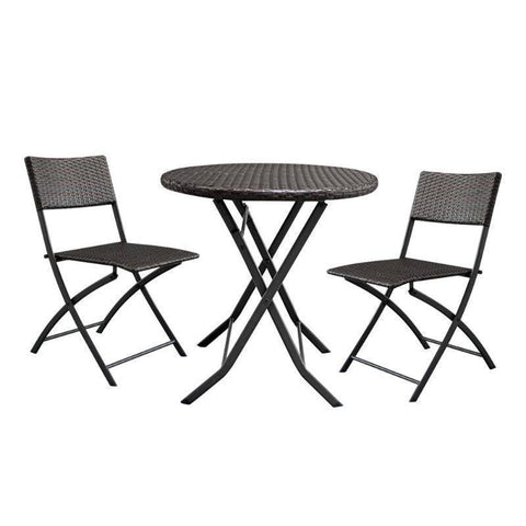 3Pcs/set Foldable Gradient Garden Rattan Coffee Table