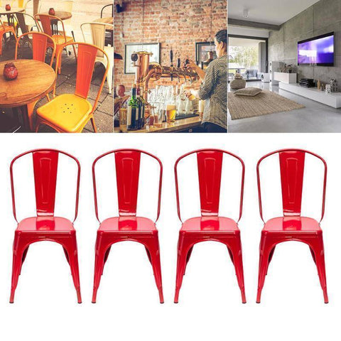 4Pcs Red Iron Backrest Chairs Home & Garden