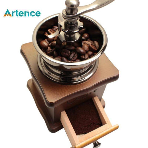 Manual Coffee Grinder Retro Style Wooden - Copa-Wax