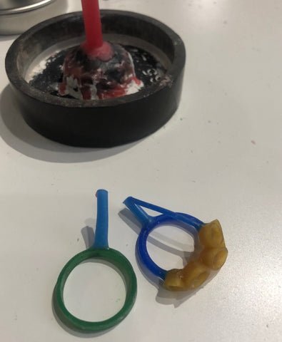 Wax molds of two new rings created by Susane Siegel Custom Jewerly