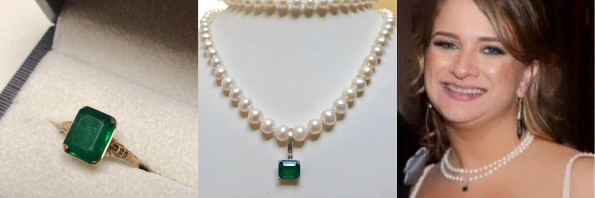 Unwanted emerald ring reimagined into a pearl and emerald necklace for a gorgeous bride